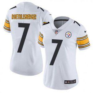 Women Steelers Ben Roethlisberger White Jersey